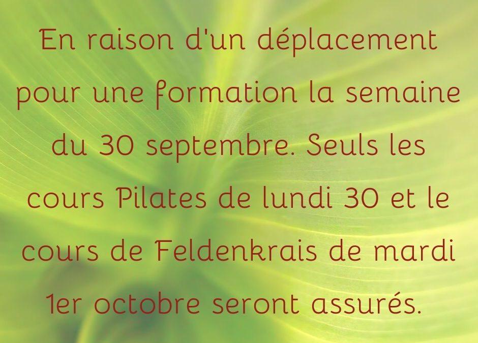 Modification des horaires de cours la semaine du 30 septembre