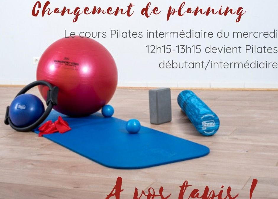 Modification cours Pilates mercredi 12h15